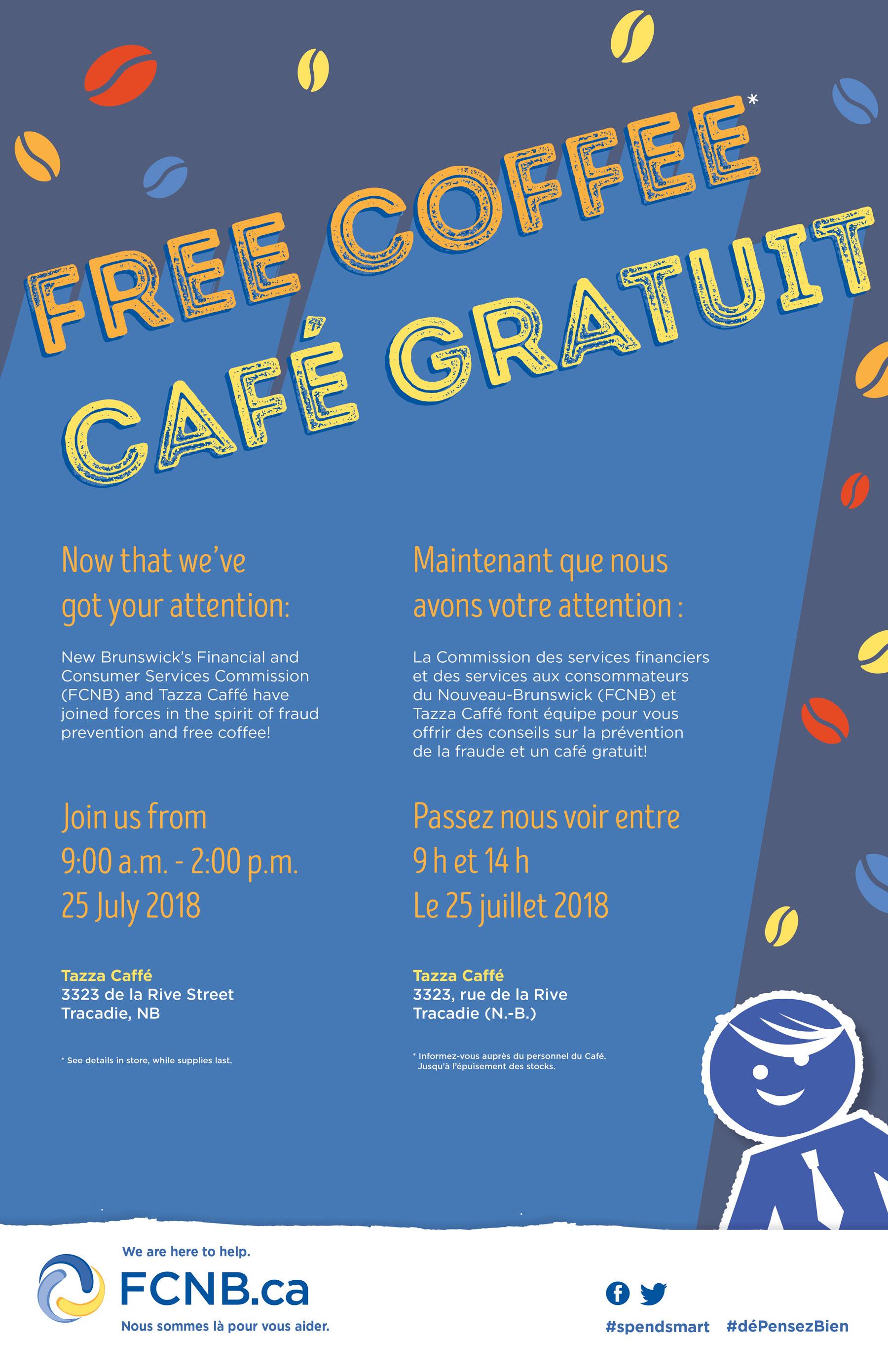 Café gratuit au Tazza CAFFE Tracadie le 25 juillet 2018